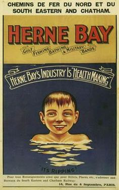1906 poster from Chemin de Fer du Nord and South Eastern & Chatham Railway promoting French tourism to Herne Bay in Kent Seaside Resort, Seaside Towns, Kent Travel, Whitstable Kent, British Seaside, British Isles, Southern Railways, Railway Posters, London Life