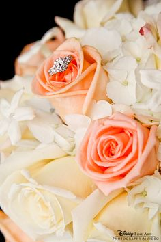 Combine a bouquet shot and a ring shot like this sweet bride #bouquet #diamond #ring #wedding