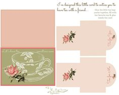 Free-printable card with matching tea bags Invite a friend to tea !