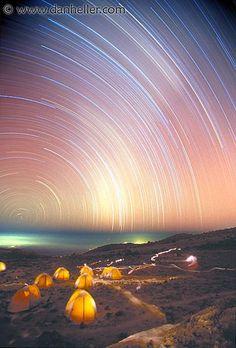 Star trails at Arrow Glacier, 16,000 feet up Mt. Kilimanjaro, Tanzania, Africa