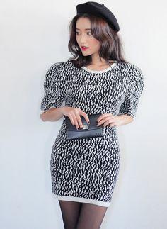 [STYLENANDA] LEOPARD PRINT KNIT DRESS
