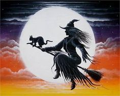 The focal point of the painting is a beautiful Witch in a pretty dress flying across the moon with her faithful friend riding on the front of her broom. Description from ebay.com. I searched for this on bing.com/images