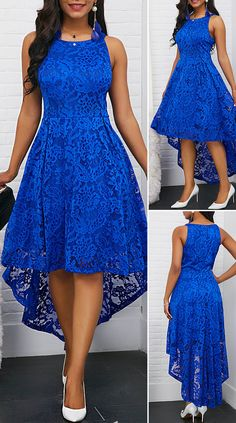 Sleeveless Round Neck Royal Blue High Low Lace DressDark-blue Lace Splicing High Low Elegant Chiffon DressV Back Cap Sleeve Lace Skater Dress Dresses Elegant, Elegant Wedding Dress, Pretty Dresses, Sexy Dresses, Casual Dresses, Beautiful Dresses, Summer Dresses, Lace Dresses, Formal Dresses
