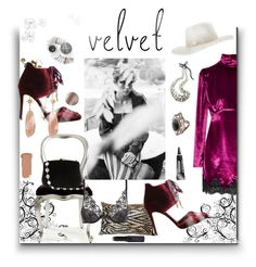 """""""The Velvet Girl"""" by sue-mes ❤ liked on Polyvore featuring Alessandra Rich, Jimmy Choo, Serpui, Christies, Japonesque, Loro Piana, Gucci, Essie, Giorgio Armani and Trish McEvoy"""