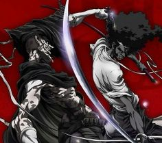 Afro Samurai , By Takashi Okazaki Samurai Drawing, Samurai Anime, Afro Samurai, Samurai Tattoo, Samurai Jack, African Tattoo, Dope Cartoons, Warrior Spirit, Animation
