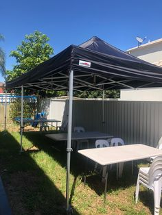 Our Pop-up marquee, tables and chairs. We have great deals for this seating package, a very fair price for a very good quality items. #partyequipment #partyhiresydney #tablesandchairs #funtimepartyhire