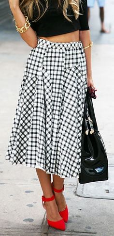 #spring #casual #outfits #inspiration |High waist checkered tea length skirt with red pumps