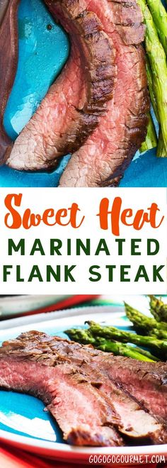 This Sweet Heat Grilled Balsamic Marinated Flank Steak recipe is a breeze to throw together, and yields the most tender, juicy flank steak you've ever had with a sweet heat that's to die for.  via @gogogogourmet Balsamic Flank Steak, Balsamic Marinade, Beef Flank, Marinated Flank Steak, Flank Steak Grill Time, How To Grill Steak, Healthy Meat Recipes, Healthy Meats, Beef Recipes
