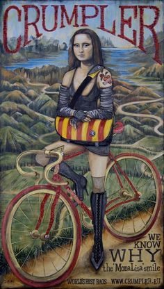 Smile ☼ Mona Lisa on a Da Vinci Fixie bicycle. A large canvas painting commissioned by Crumpler Bags and painted by Cycology. Gravure Illustration, Illustration Photo, Cycling T Shirts, Cycling Art, Cycling Tours, Velo Design, La Madone, Mona Lisa Parody, Mona Lisa Smile