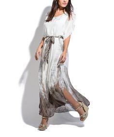 Another great find on #zulily! Taupe Tie-Waist Silk-Blend Maxi Dress by Charlotte et Louis #zulilyfinds