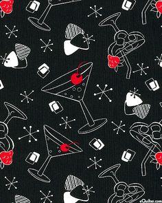 Fab apron or clutch lining!  Essentials VI - Atomic Cocktail - Black