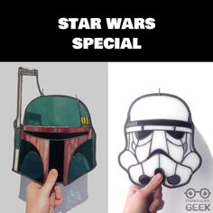 Star Wars Special!!! To celebrate the newest Star Wars movie The Stained Glass Geek made this amazing Boba Fett Helmet and Stormtrooper. Nice gift for a fan!