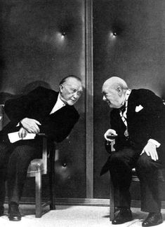Konrad Adenauer and Winston Churchill at the Charlemagne Prize Ceremony, Aachen Germany 1956.