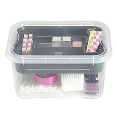 The transparent body and lid make it easy to identify the contents and the integral tray makes it simple to keep small things tidy. Neat And Tidy, Office Organization, Plastic Laundry Basket, Kitchenware, You Nailed It, Make It Simple, Kids Room, Cleaning, Box