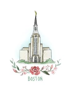 Boston Temple, LDS, flower wreath, Flowers, Mormon Temple, House of the Lord, Christian Art, gift, Massachusetts, painting, printable file