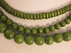 Wood Beads Set of 3 Strands Green Wood $4.31 by FLcowgirls