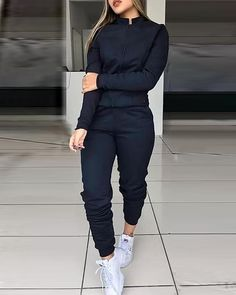 Solid Zipped Top & Slinky Pant Sets Women Solid Two Piece Set Tracksuit Lazy Outfits, Sporty Outfits, Girls Fashion Clothes, Fashion Outfits, Style Fashion, Cute Scrubs, Scrubs Outfit, Mode Streetwear, Drawstring Pants