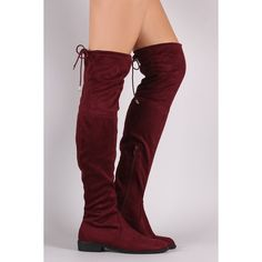 Suede Drawstring Over-The-Knee Riding Boots ($67) ❤ liked on Polyvore featuring shoes, boots, riding boots, over knee boots, stretch thigh high boots, thigh high boots and stretch suede boots