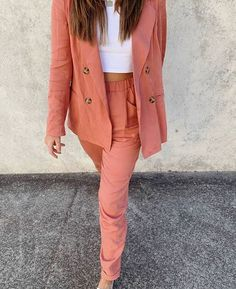 We are DYING over this coral coloured power suit by Staple the Label, with statement buttons and a relaxed fit, it makes one hell of an outfit! Bohemian Style Clothing, Coral Color, Vintage Inspired, Boho Chic, Joggers, Label, Leather Jacket, Buttons, Suits