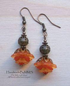 Fall Copper Lucite flower earrings 1.75''  by HandmadeByMMS