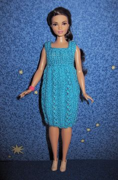 """Doll clothing knitted blue dress. Barbie curvy clothes openwork tunic. Fashion for Monster high 17"""" Ever after 17 inch. Mh eah dolls outfit. by DollsDesire on Etsy"""