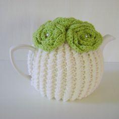 Hand Knit Tea Cozy. Green Medium Teapot Cover Teapot Cover, Tea Cozy, Crochet Flowers, Spring Time, Hand Knitting, Hands, Medium, Green, Shop