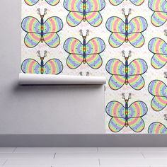 Isobar Durable Wallpaper featuring Rainbow Butterfly HH Comp by flutterbi   Roostery Home Decor