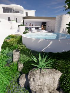 Raised white pool and courtyard landscaping design with best landscaper recommendations tristanpeirce Landscape Architecture Pool and Garden Design City Beach Perth Above Ground Pool, In Ground Pools, Courtyard Landscaping, Coastal Gardens, Landscape Architecture Design, City Beach, Garden Design, Swimming Pools, Mansions