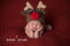 Newborn Baby Rudoph Reindeer Christmas Holiday Hat Crochet Photo Prop on Etsy, $25.00