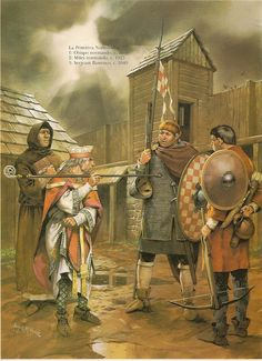 Norman spearmen at their strongholds of Normandy Medieval World, Medieval Armor, Medieval Fantasy, Norman Knight, Ottonian, Renaissance Time, Viking Life, Early Middle Ages, Historical Art
