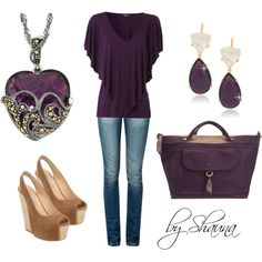 purple cape t-shirt with gold heart pendant, created by shauna-rogers on Polyvore
