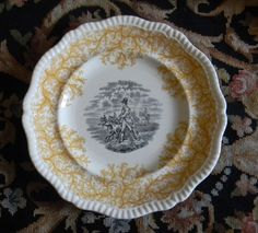 Two color, yellow and black, transferware by Spode/Copeland