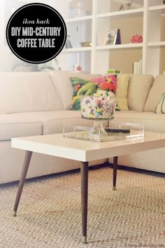 Mid-Century Modern Coffee Table: Remove the boring wood legs of the IKEA LACK coffee table and replace with a pair of signature tapered ones. You can get this unique and custom modern coffee table. Coffee Table Hacks, Ikea Lack Coffee Table, Modern Coffee Tables, Modern Table, Ikea Table Hack, Lack Table Hack, Ikea Lack Hack, Coffee Table Legs, Home Decoracion