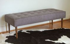 Mid Century Modern Inspired Bench Gray Tufted