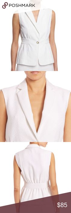 NEW - DVF White Gavyn Sleevless Vest Jacket M / L Diane von Furstenberg White Textured Fabric 'Gavyn' Vest Sleeveless Jacket - Size 10   Excellent NEW Condition!!  Retail - $368.00 and is SOLD OUT!! Check out my other listings!! BUNDLES WELCOME!! Thank you!! 😊🎉 Diane von Furstenberg Jackets & Coats Vests