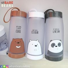 Mer- Griz Mouse-Panda Me- ice bear Cute Water Bottles, Cool School Supplies, We Bare Bears Wallpapers, We Bear, Cute Cups, Bear Wallpaper, Cool Things To Buy, Stationery, Mugs