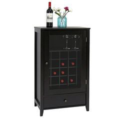 Peach Tree Sideboard Cabinet Wine Storage Wine Cabinet Table Big Storage Useful Buffet Table Kitchen Furniture, Black.   For product info please visit:  https://homeandgarden.today/peach-tree-sideboard-cabinet-wine-storage-wine-cabinet-table-big-storage-useful-buffet-table-kitchen-furniture-black/