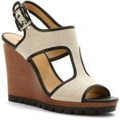 Michael Michael Kors Women's Gillian Wedge Sandals (395163501) ($115) ❤ liked on Polyvore featuring shoes, sandals, black, ankle wrap wedge sandals, black wedge sandals, cut out wedge sandals, wide sandals and summer sandals