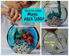 How to Make Magic Aqua Sand - So much FUN for the kids to create underwater sculptures! YouTube video included.