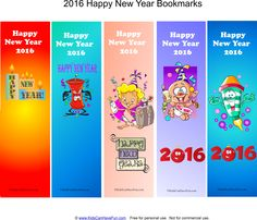 Happy New Year Bookmarks http://www.kidscanhavefun.com/new-years-activities.htm #newyear #bookmarks