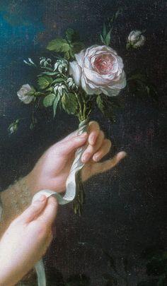 Marie Antoinette with the Rose (detail), 1783, by Élisabeth Louise Vigée Le Brun (French, 1755–1842).