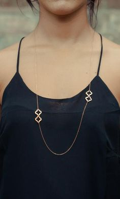 Long Gold Clover Necklace. Long Gold Necklace by PROJECTDAHLIA