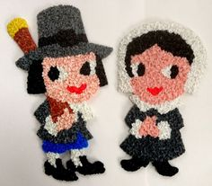 Vintage Melted Plastic Popcorn Pilgrim Boy & Girl Thanksgiving