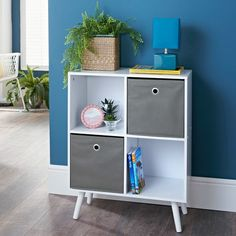 Homesavers | Malmo 4 Cube Shelving Unit Cube Shelving Unit, Shelves, Storage Baskets, Locker Storage, Cube Decor, A Shelf, Storage Solutions, Picture Frames, The Unit
