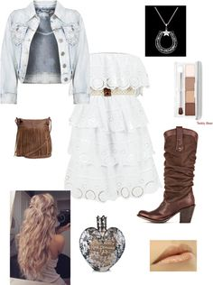 Cool outfit / white dress / boots