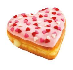 From Dunkin' Donuts - The Cupid's Choice Donut is a heart-shaped yeast (AKA raised) donut filled with Bavarian cream and topped with strawberry icing and pink, white and red heart-shaped sprinkles.