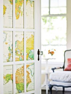 Windowed French doors are gorgeous on their own, but colorful insets add interest and provide privacy. Vintage maps, paper with decorative cutouts, frosted-look contact paper, and favorite pages from an old book are great insets to consider. For insets that don't have their own adhesive, a bit of double-stick tape will subtly hold paper in place.