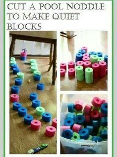 Pool noodle makes quiet blocks