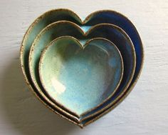 So cute. pottery heart bowls nesting dishes miniature small ceramics pottery 4 inches