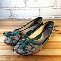 "COACH Women's Shoes ~ Khaki & Green ""Josie"" Sig. Print Ballet Flat ~ US 8.5 M #Coach #BalletFlats"